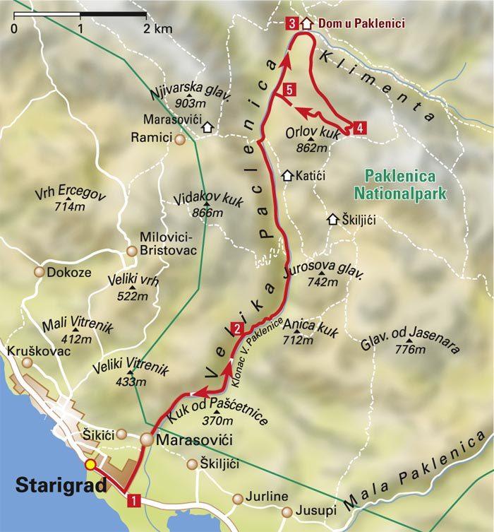 Карта туристического маршрута в парке Пакленица