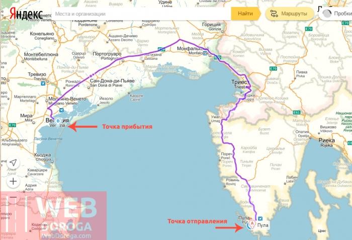 Созданный маршрут на Яндекс-картах