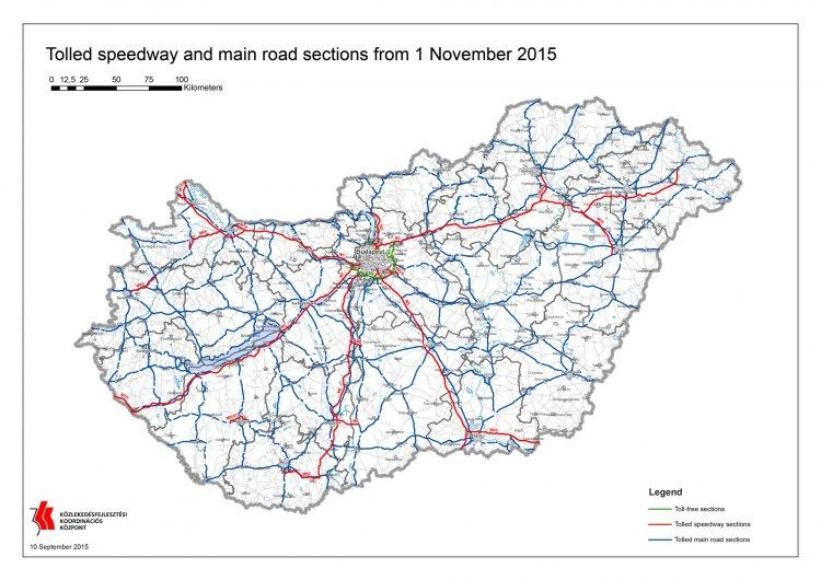 Карта автомобильных платных дорог Венгрии