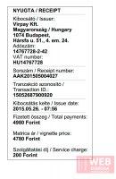 Копия чека оплаты платных дорог Венгрии он-лайн