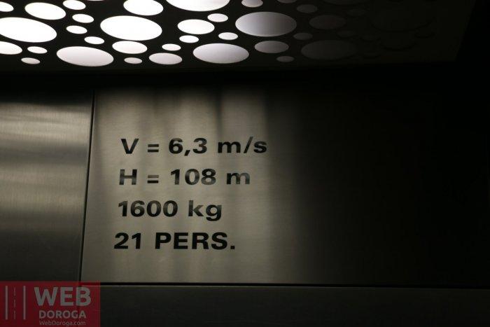 100 метровый скоростной лифт на обсерваторию Jungfrau