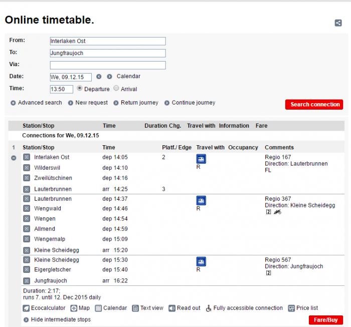Расписание поездов с вокзала Interlaken Ost на Jungfraujoch