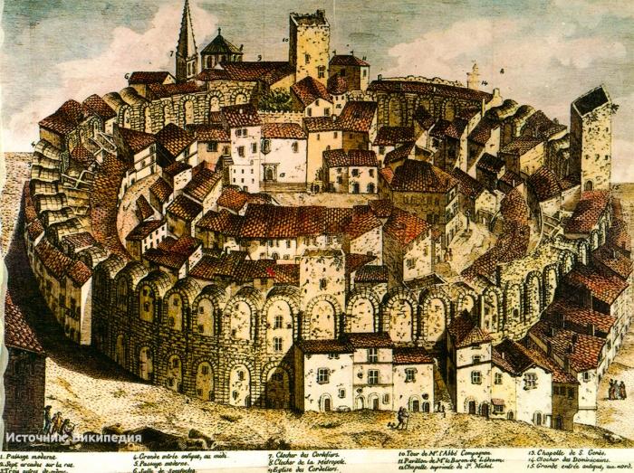 Арльский амфитеатр на гравюре 17 века