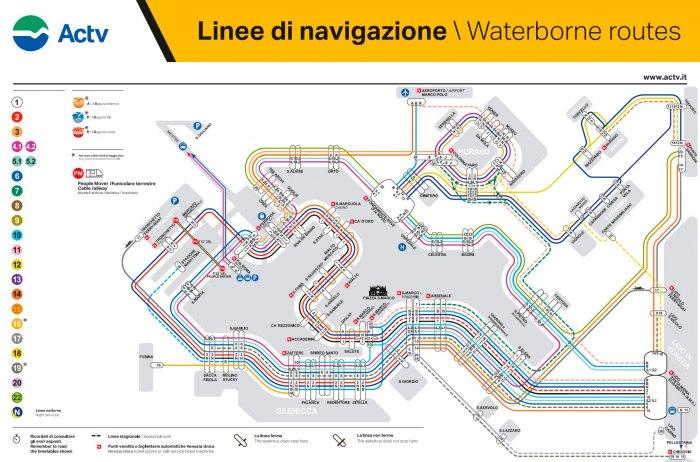 Схема маршрутов речного трамвая Венеции - Вапоретто