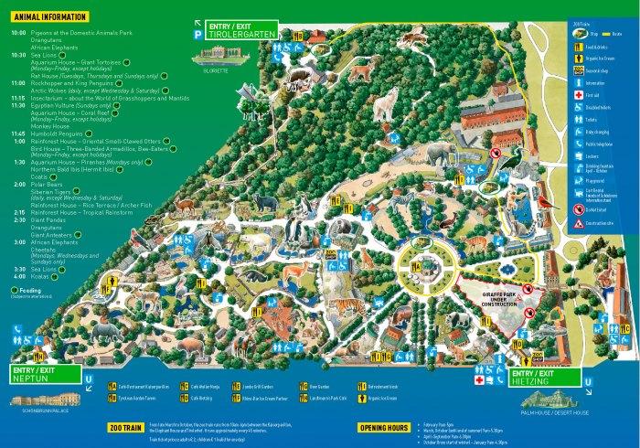 Карта - Схема Венского зоопарка - Шёнбруннский зоопарк