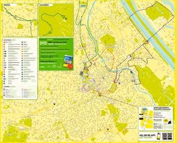 Общая карта маршрутов Вены для Хоп-он Хоп офф - Красный, Зеленый, Синий