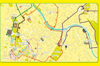 Подробная карта Вены для маршрутов Хоп-он Хоп офф - Красный, синий, зеленый