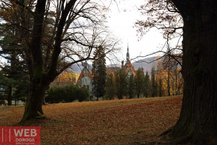 Вид на Дворец Шенборна со стороны парка